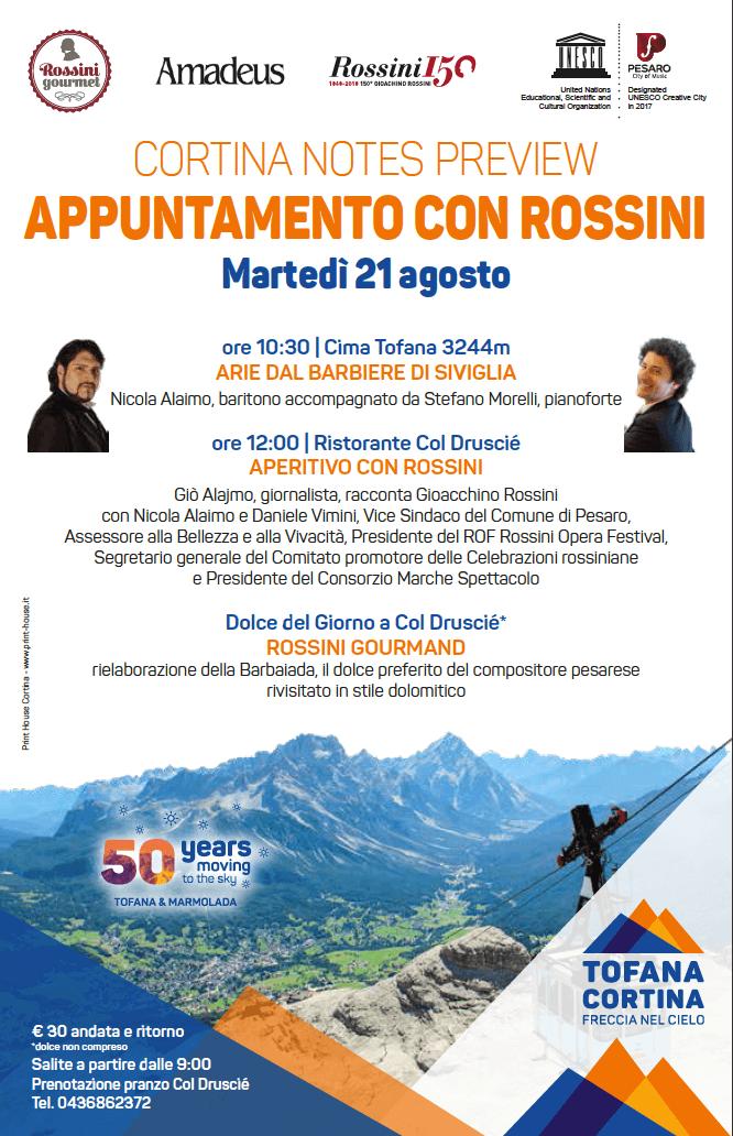 """20 e 21 agosto, """"Rossini 150"""" a Cortina: dialogo in vetta tra musica e sapori"""