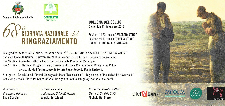 Per S. Martino l'11 novembre a Dolegna del Collio COMUNE, COLDIRETTI E CIVIBANK INSIEME